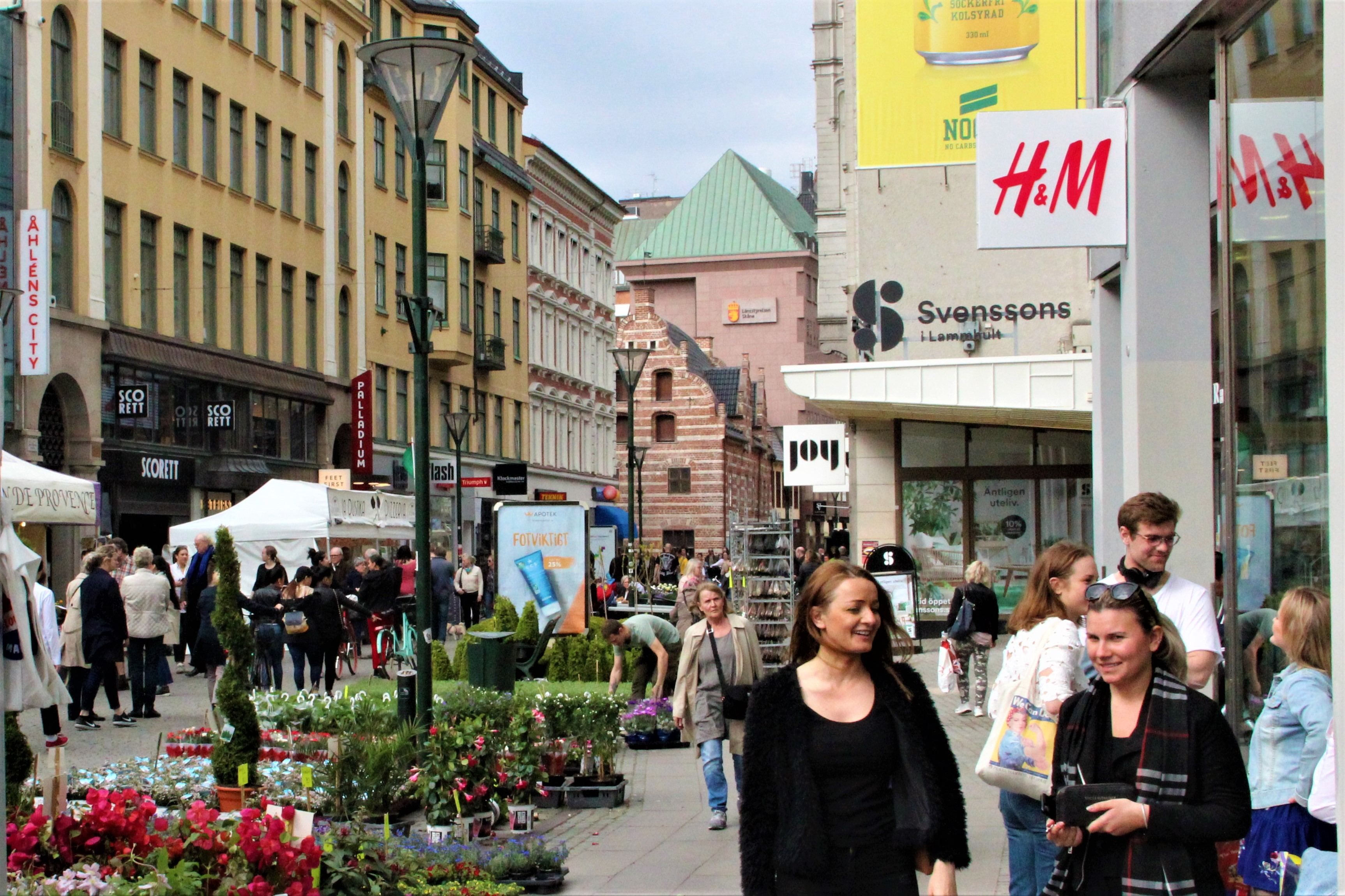 Shop on Södergatan shopping street on a day trip to Sweden.