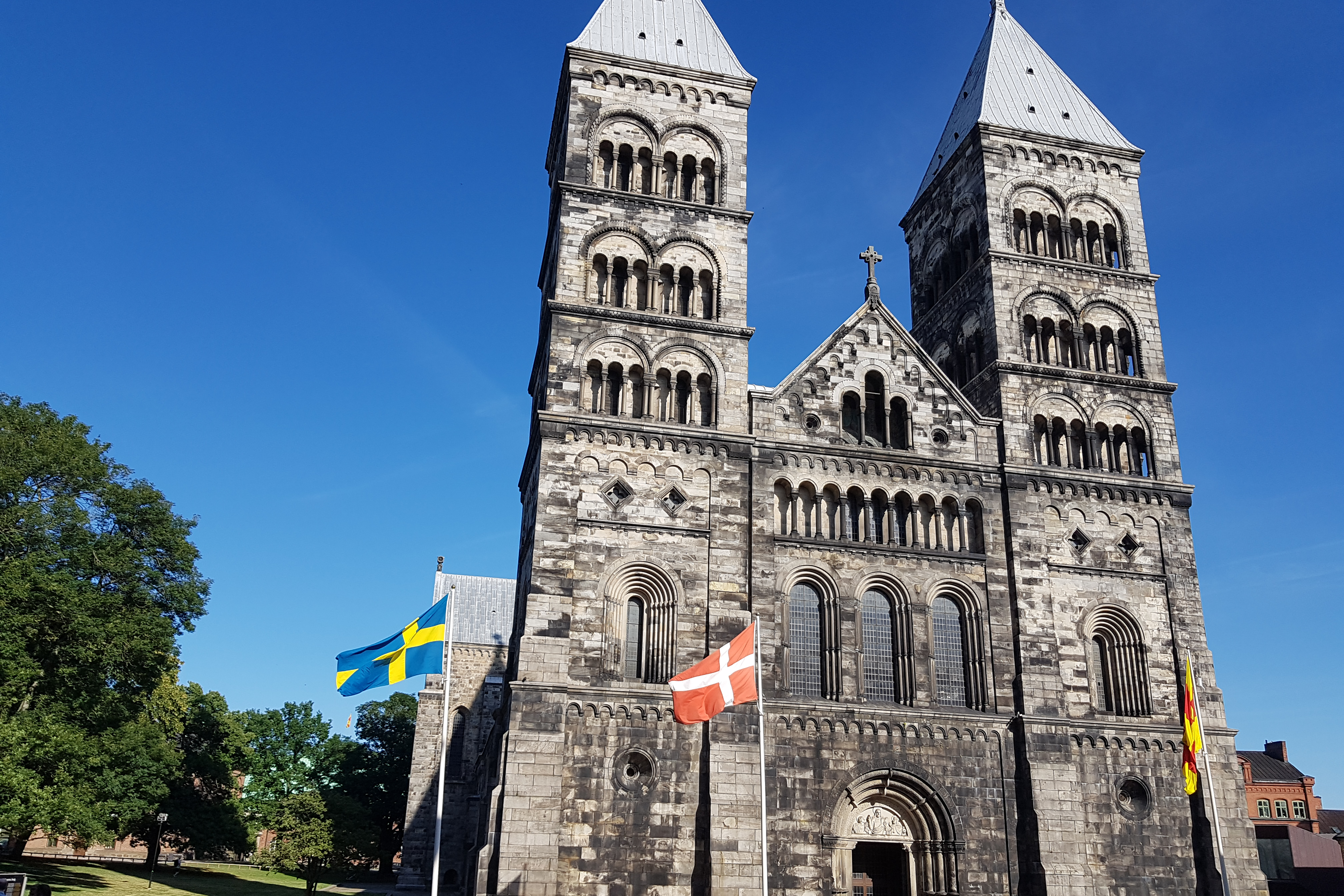 Lund Cathedral with Denmark and Sweden flags
